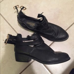 Topshop Black Ankle Boots with Buckles